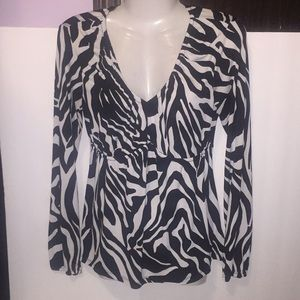 Worthington black white zebra print top. Size S